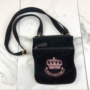 Juicy Couture• Black Embroidered Velour Bag